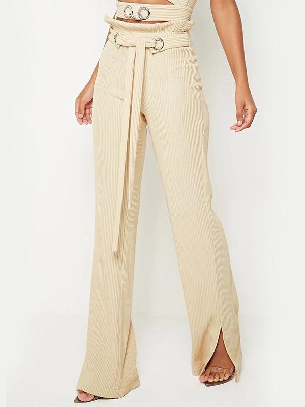 Women lace-up corduroy bell-bottomed pants