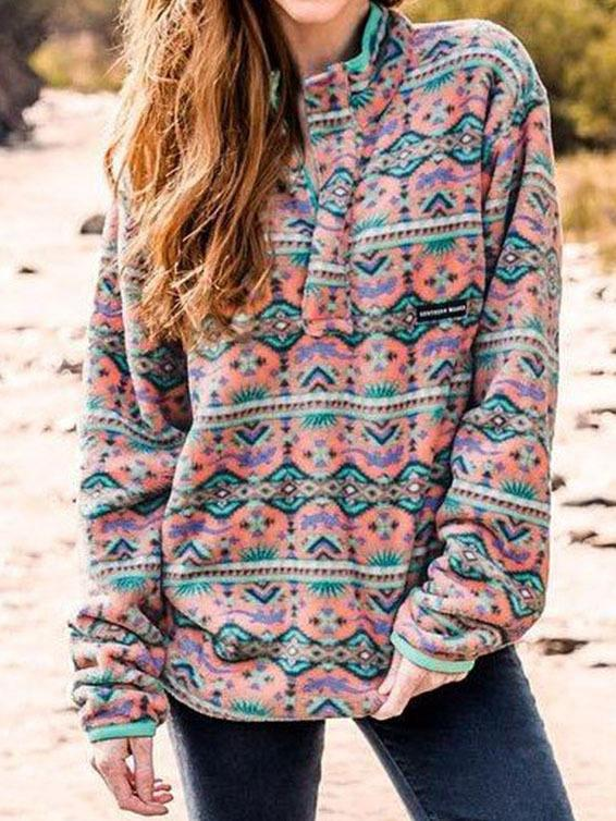 Printed loose slim stand collar long sleeve Pullover hoodie