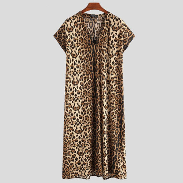 V neck short sleeve loose leopard men long t-shirt