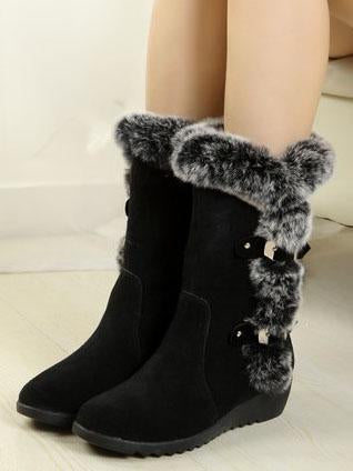 Women warm boots with plush