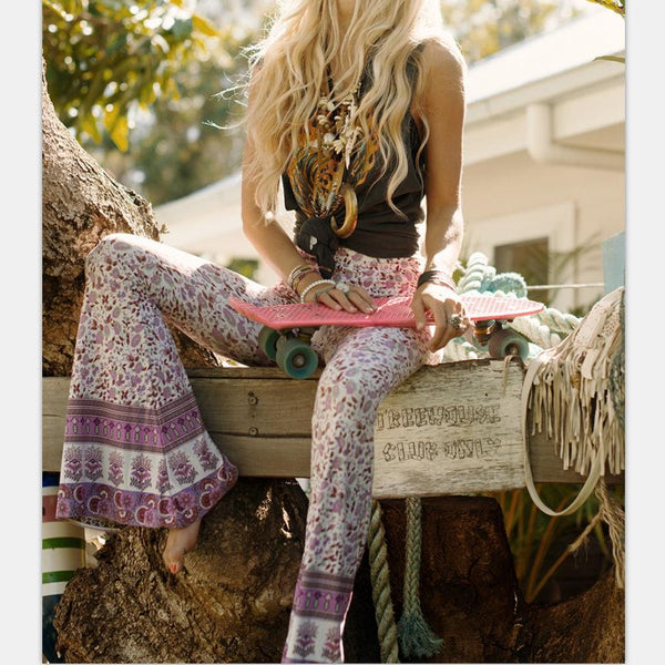 Purple Vintage printed flared pants