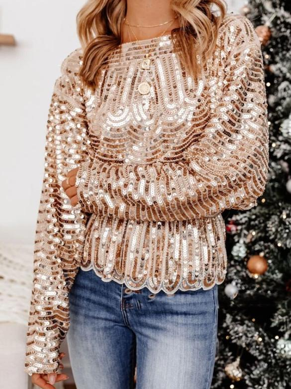 Round neck sequin women top