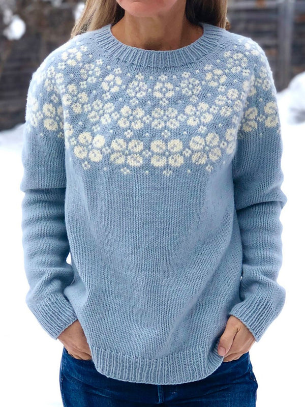 Round neck blue printed sweater
