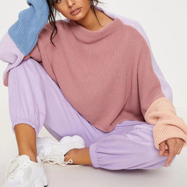 Color block plian thicken sweater