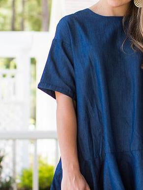 Dark blue round neck plian short sleeve  denim dress