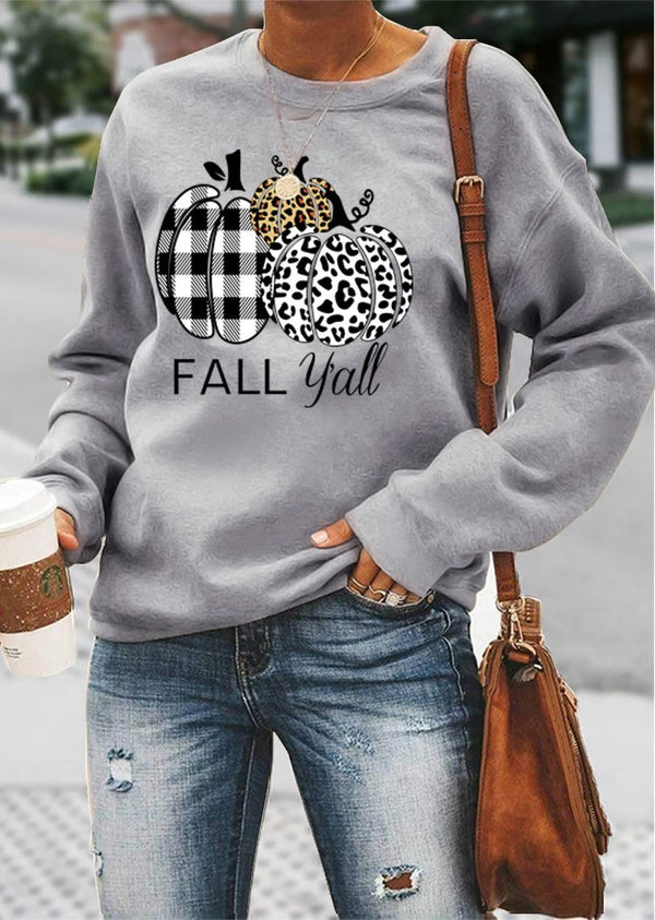 Halloween leopard pumpkin printed long sleeve top