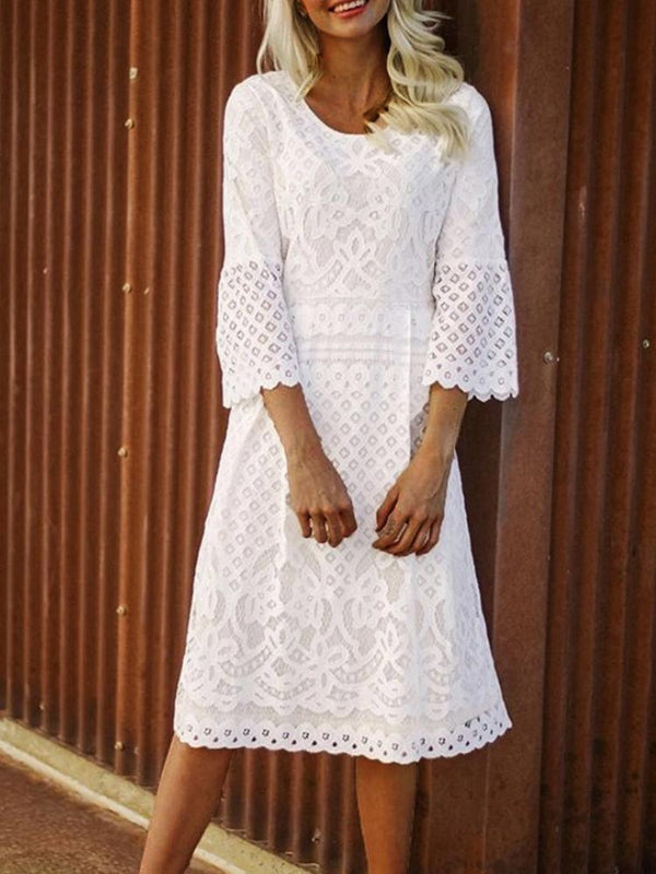 Round neck three quarter sleeve lace women dress