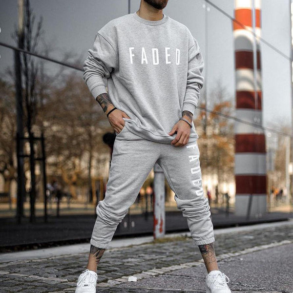 Men printed casual warm sport suit