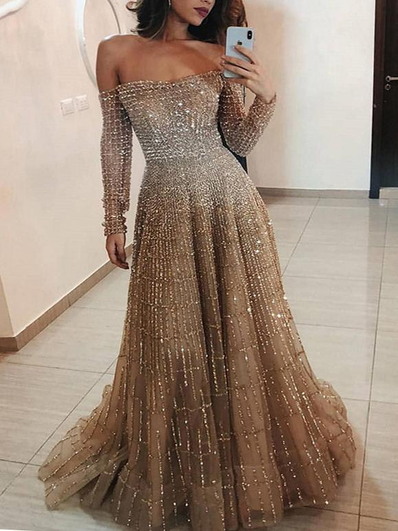 Off shoulder shining long sleeve dress