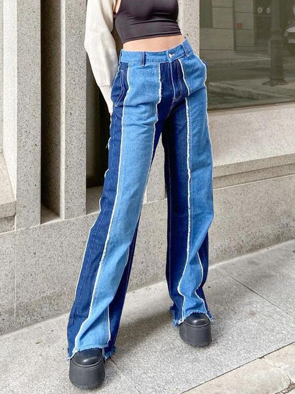 Straight women color joint high waist pants