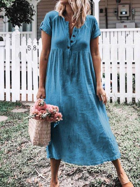 Plus Size Casual Short Sleeve Solid Midi Dresses
