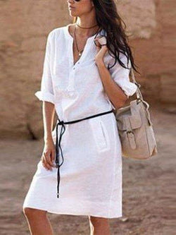 V-Neck Roll Up Sleeve Half Sleeve Shirt Dresses