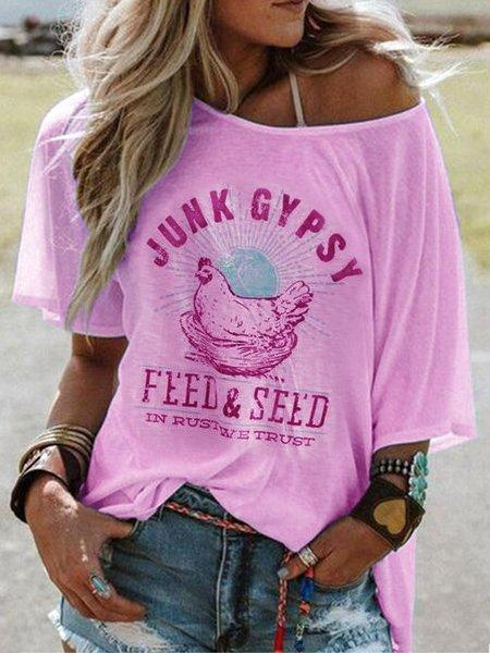 Crew Neck Short Sleeve Gypsy Style Casual Top