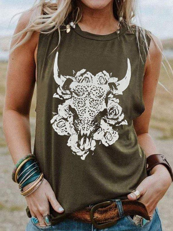 Round Neck Sleeveless Oxhead Print Casual Top