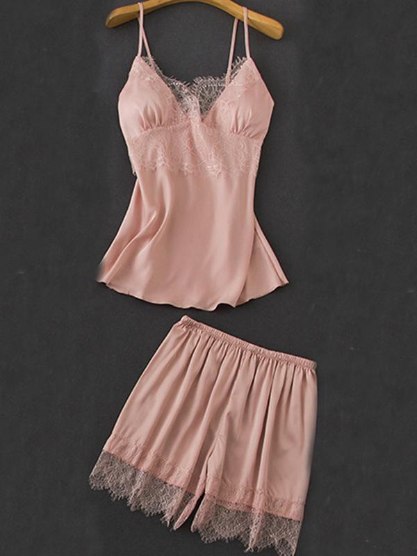 Satin lace simple top and shorts  pajamas suit
