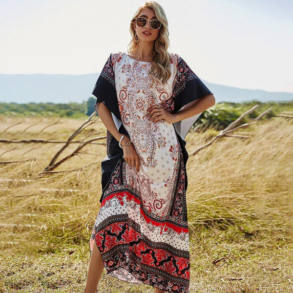 Loose printed women large bottom half sleeve dress