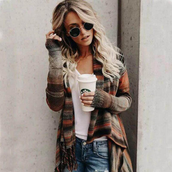 Chic printed loose asymmetrical cardigan coat