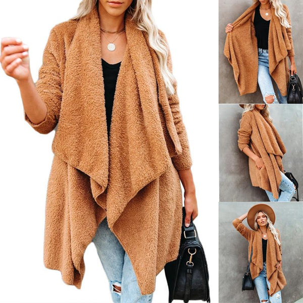 Thicken plain loose asymmetrical fleeve  cardigan caot
