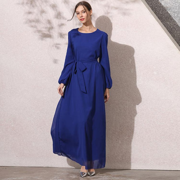 Muslim pure blue round neck chiffon dress