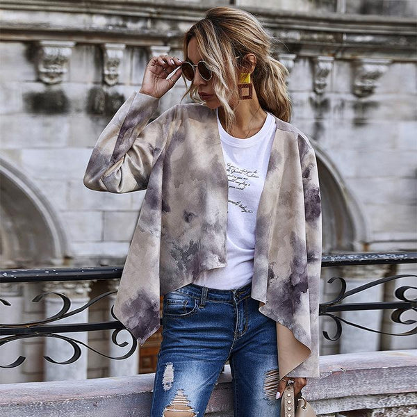 Printed faux leather loose cardigan coat