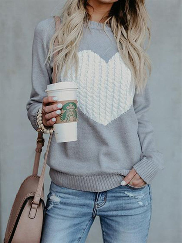 Chic round neck heart sweater