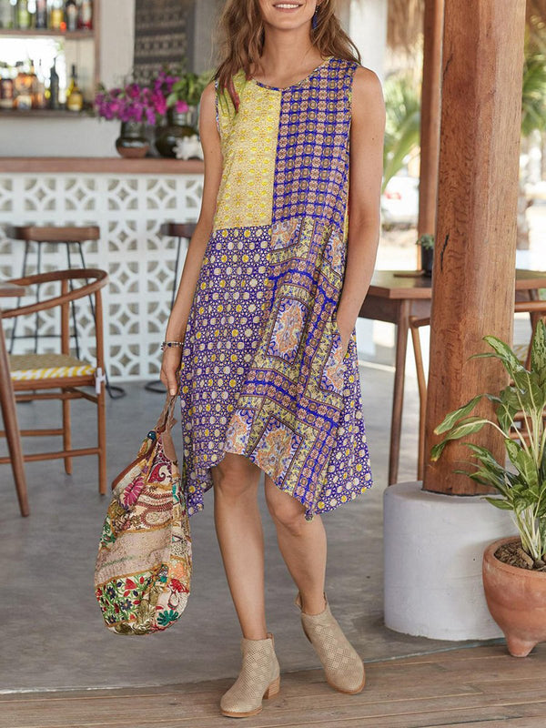 Sleeveless cotton blends summer printed dress