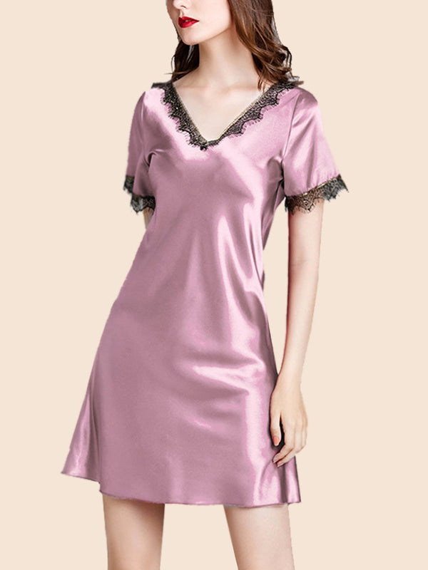 Deeply V-neck slik short-sleeved pajamas