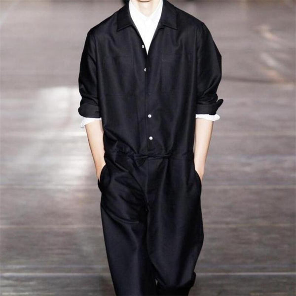 Black cool loose men fashion jumpsuit