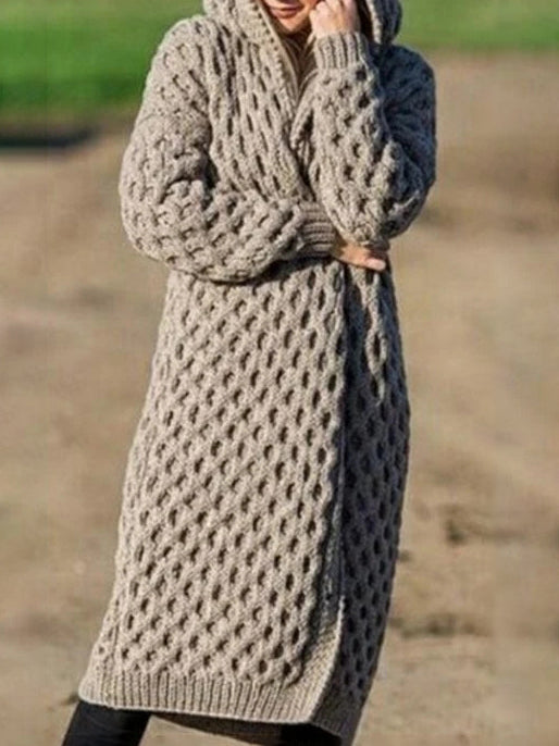 Thicken plain knit sweater coat with hat