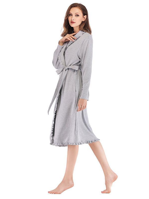 Loose long-sleeved belt pajamas