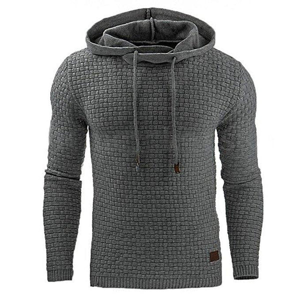 Men fashion pure color knitting simple hoodie
