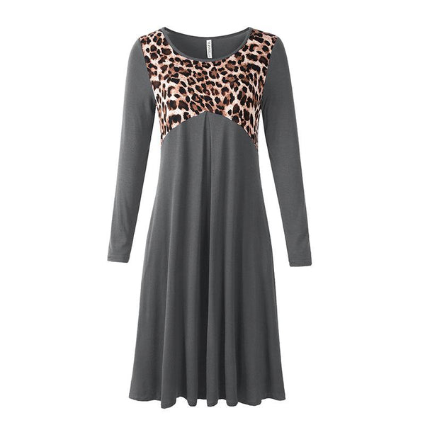 Leopard&color joint round neck casual dress