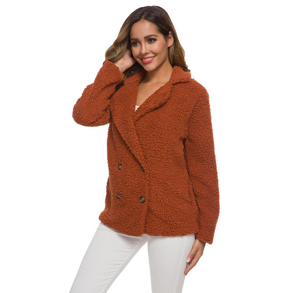 Fashion thicken plain loose  faux Lambswool coat