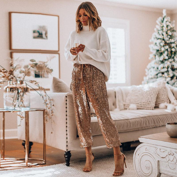 Fashion sequins embellished elastic waist pants