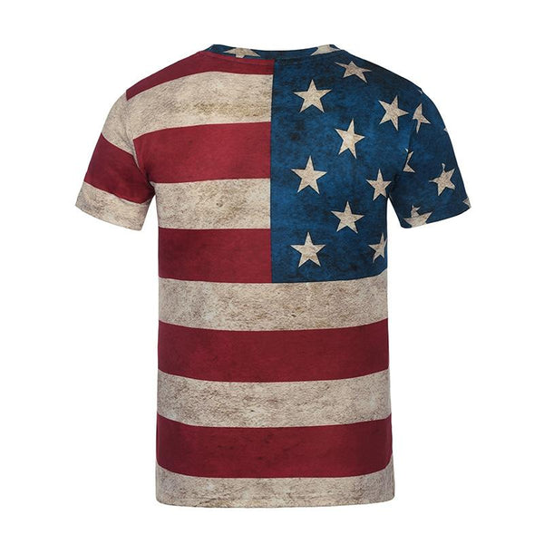 3D flag short sleeve printed men t-shirt