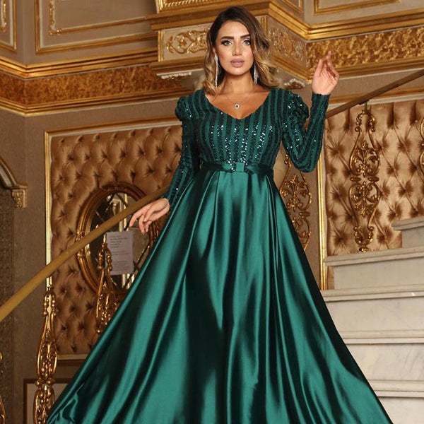 V-neck long sleeve sequin banquet dress