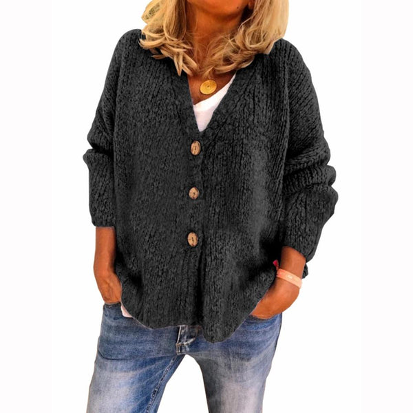 V neck plain soft sweater coat
