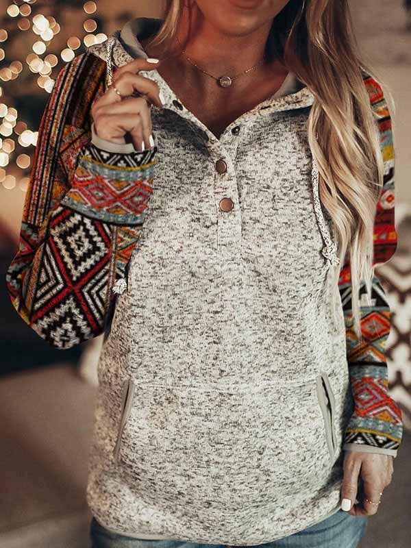 Casual split joint strappy long sleeve hoodie
