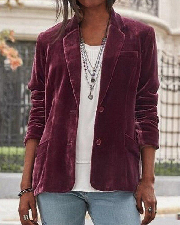 2020 lapel plain loose velvet coat