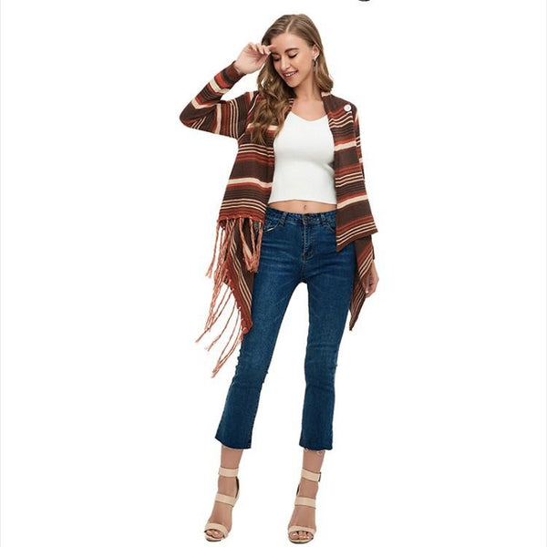 Colorful strip loose fringe embellished cardigan