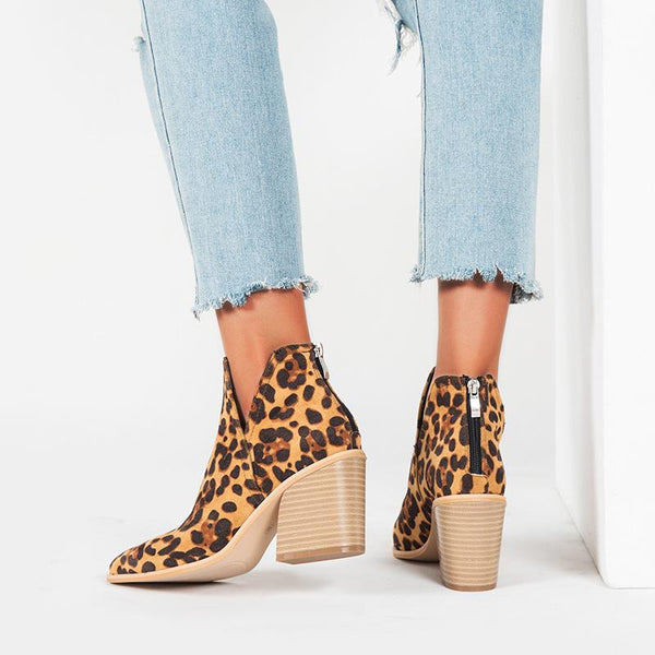Coarse heel leopard printed boot