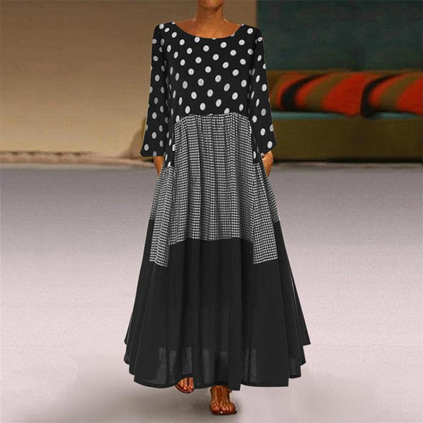 Round neck long sleeve polka dots dress