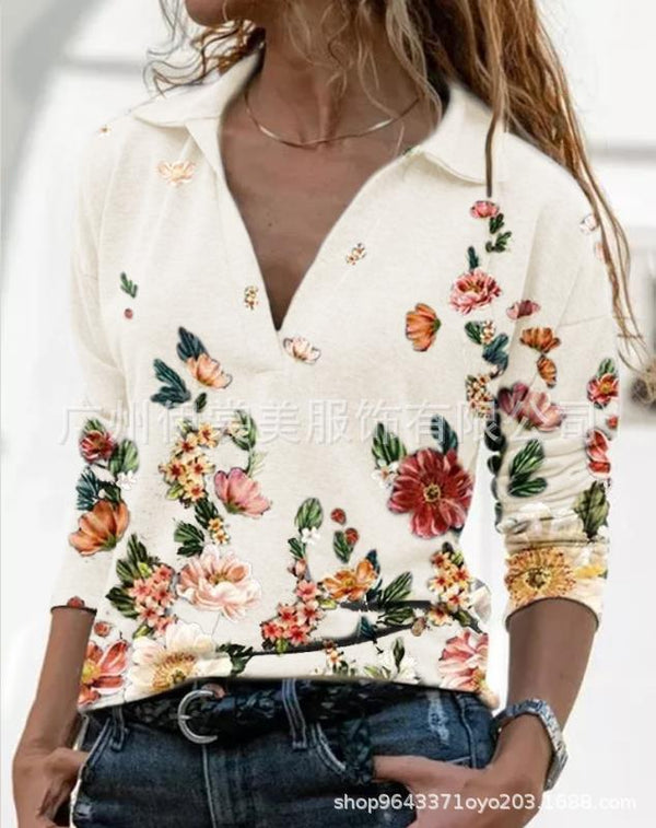 V-neck pullover printed long-sleeved shirt