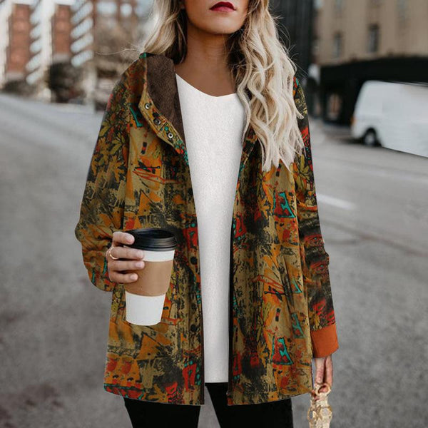 Winter printed button thicken coat