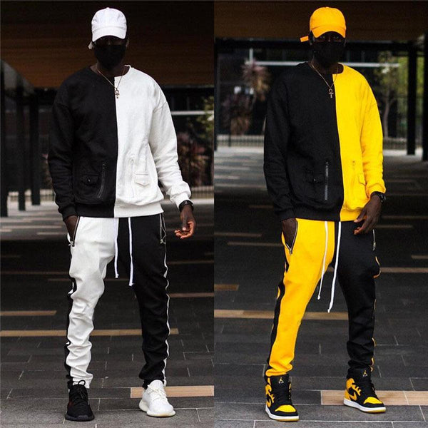 Men hip-pop color joint round-neck fleece suit