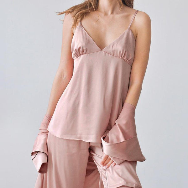 Three-piece women satin comfortable pajamas set