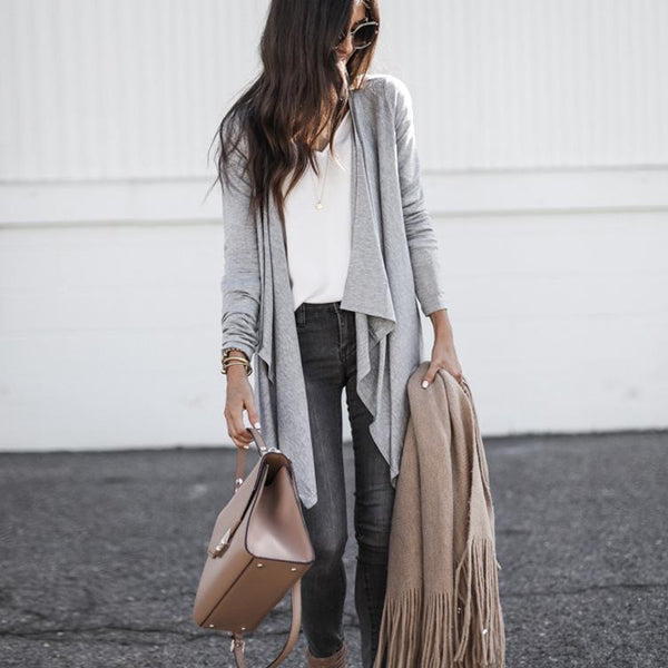 Daily gray loose cardigan coat
