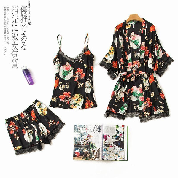 Flower printed lace three piece suit pajamas