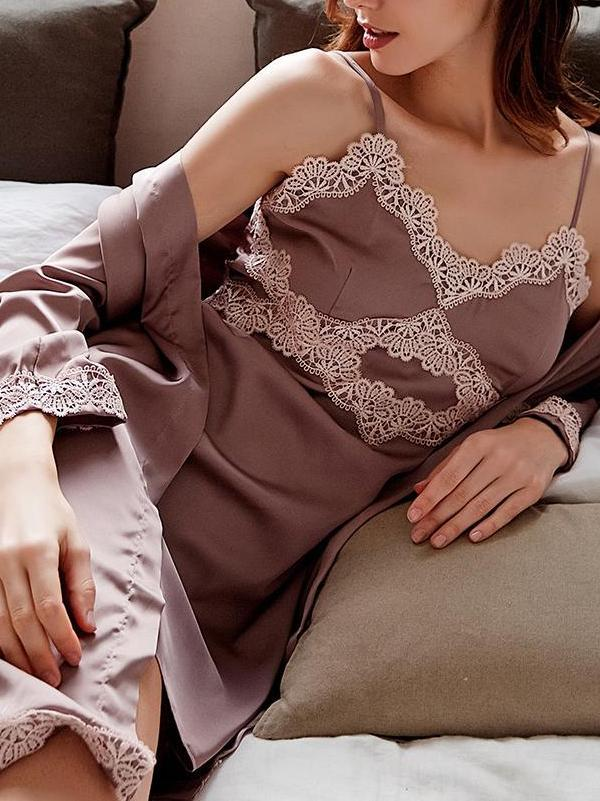 Soft lace three-quarter sleeve pajamas suit