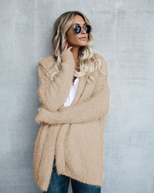 Winter plain fleeve loose long cardigan coat